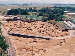 砂丘上に築かれた山三賀�U遺跡の集落